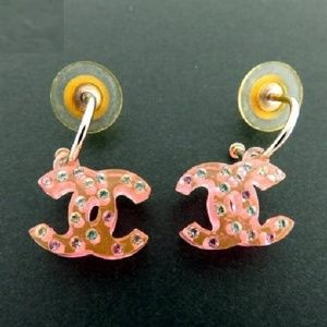 Pierced CC Crystal Drop Earrings 209063